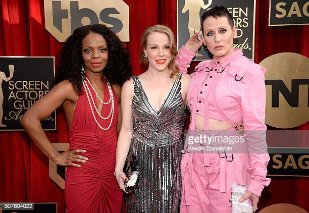 Actresses Marsha Stephanie Blake Emma Myles and Lori Petty attend the 22nd Annual Screen Actors Guild Awards at The Shrine Auditorium on January 30...