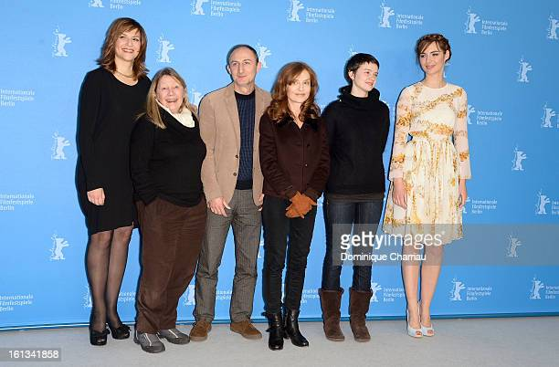Actresses Martina Gedeck Francoise Lebrun director Guillaume Nicloux and actresses Isabelle Huppert Pauline Etienne and Louise Bourgoin attend 'The...