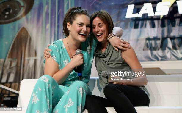 Actresses Mary Chieffo and Jayne Brook embrace after reenacting a scene from the Star Trek Discovery television show at the Discovery Panel Part 2...
