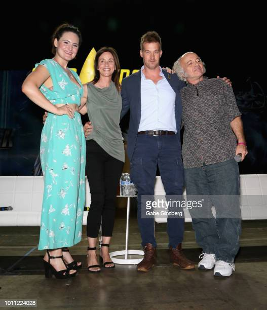Actresses Mary Chieffo Jayne Brook actors Kenneth Mitchell and Clint Howard pose at the Discovery Panel Part 2 panel during the 17th annual official...