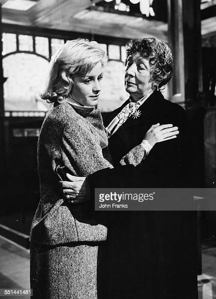 Actresses Mary Ure and Dame Edith Evans during the filming of the play 'Look Back in Anger', on set at Elstree Studios, London, 1958.