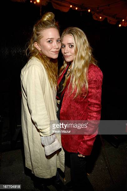 Actresses MaryKate Olsen and Ashley Olsen attend the Rolling Stones performance at Echoplex on April 27 2013 in Los Angeles California The Rolling...