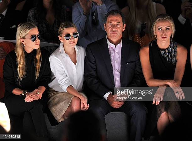 Actresses MaryKate Olsen Ashley Olsen Alec Gore and model Beth Whitson attend the JMendel Spring 2012 Fashion Show at Lincoln Center on September 14...