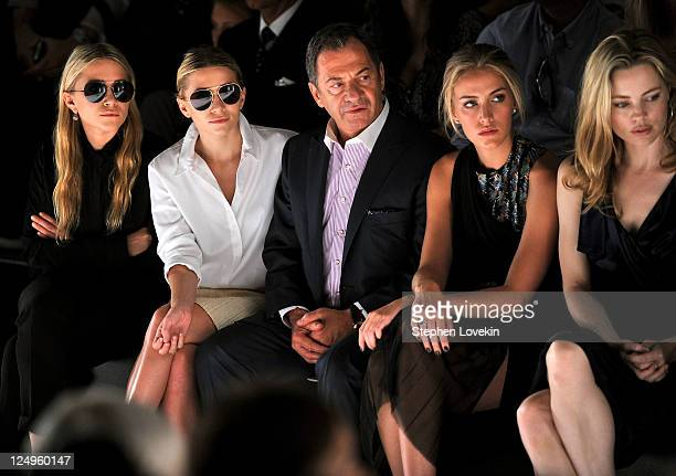 Actresses MaryKate Olsen Ashley Olsen Alec Gore model Beth Whitson and actress Melissa George attend the JMendel Spring 2012 Fashion Show at Lincoln...