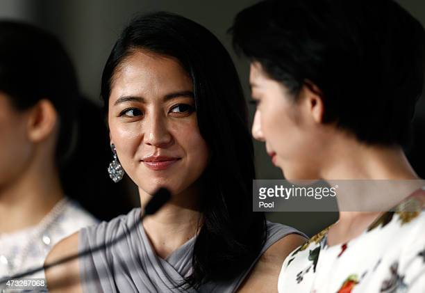 Actresses Masami Nagasawa and Kaho attend the press conference for 'Umimachi Diary' during the 68th annual Cannes Film Festival on May 14 2015 in...