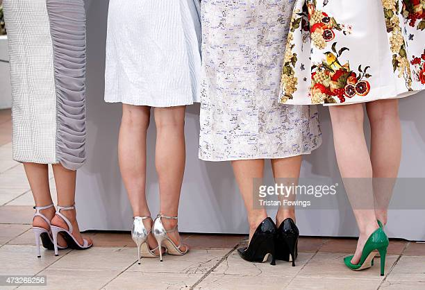 Actresses Masami Nagasawa Suzu Hirose Haruka Ayase and Kaho shoe detail attend a photocall for 'Umimachi Diary' during the 68th annual Cannes Film...
