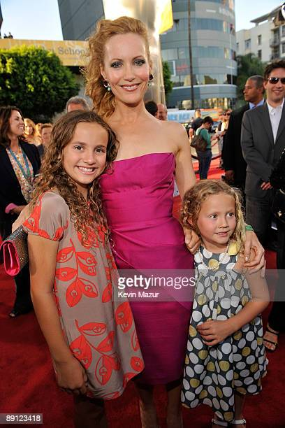 Actresses Maude Apatow Leslie Mann and Iris Apatow arrive on the red carpet of the Los Angeles premiere of Funny People held at the ArcLight...
