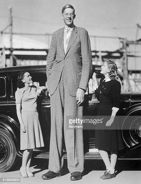 Actresses Maureen O'Sullivan and Ann Morris stand next to giant Robert Wadlow Wadlow was eight feet eight and one half inches tall at the time this...