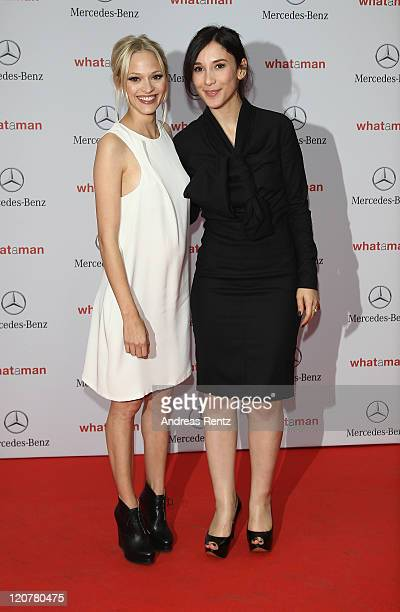 Actresses Mavie Hoerbiger and Sibel Kekilli attend the 'What A Man' Premiere at CineStar on August 10 2011 in Berlin Germany