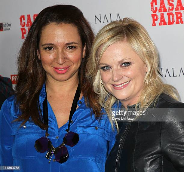 """Actresses Maya Rudolph and Amy Poehler attend the """"Casa de mi Padre"""" Los Angeles premiere at Grauman's Chinese Theatre on March 14, 2012 in..."""