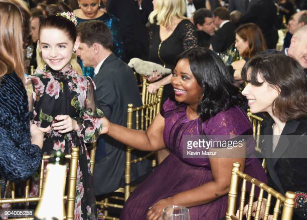Actresses Mckenna Grace Octavia Spencer and Sally Hawkins attend The 23rd Annual Critics' Choice Awards at Barker Hangar on January 11 2018 in Santa...