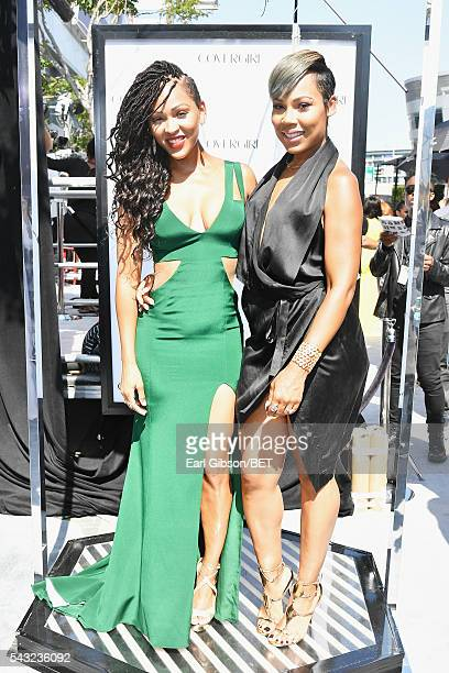 Actresses Meagan Good and La'Myia Good attend the Cover Girl glam stage during the 2016 BET Awards at the Microsoft Theater on June 26 2016 in Los...