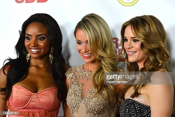 Actresses Meagan Tandy Katrina Bowdenand Danielle Panabaker arrive at the Premiere of Dimension Films' Piranha 3DD at The Mann Chinese 6 on May 29...