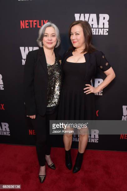 Actresses Meg Tilly and Jennifer Tilly attend a special screening of the Netflix original film 'War Machine' at The Metrograph on May 16 2017 in New...