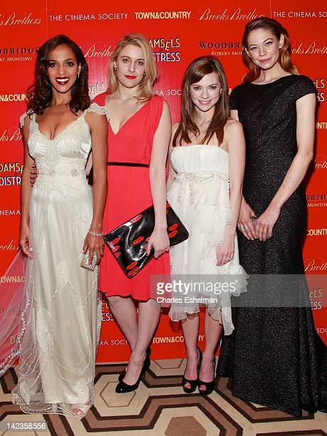 Actresses Megalyn Echikunwoke, Greta Gerwig, Carrie MacLemore, Analeigh Tipton attend The Cinema Society with Town & Country and Brooks Brothers...