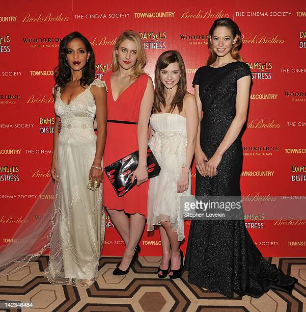 Actresses Megalyn Echikunwoke Greta Gerwig Carrie MacLemore and Analeigh Tipton attend the Cinema Society with Town Country and Brooks Brothers...
