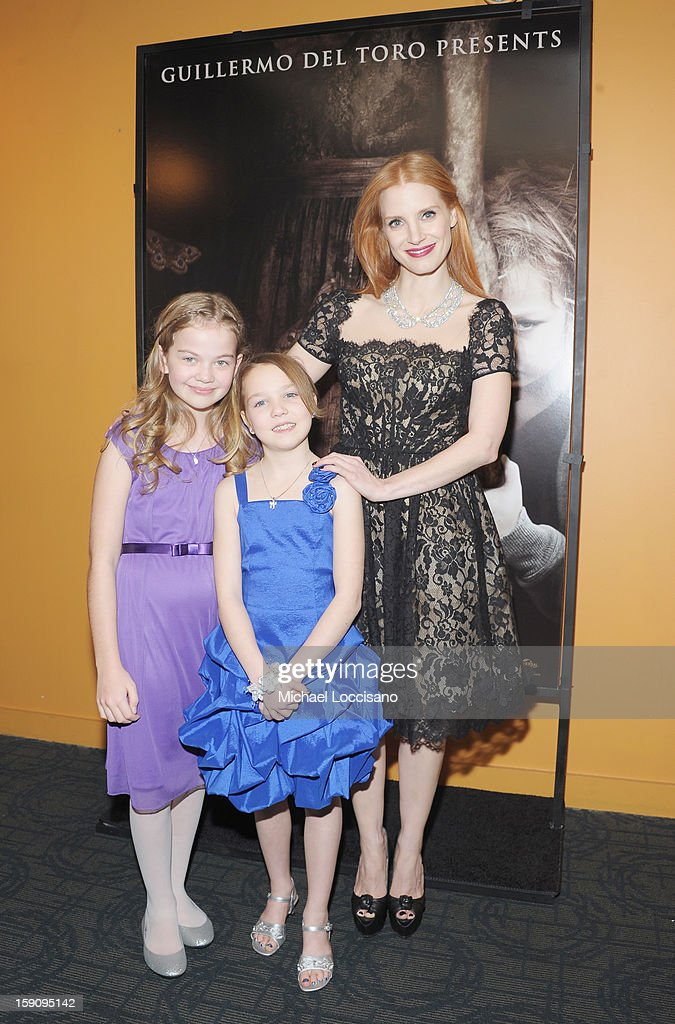 Actresses Megan Charpentier, Isabelle Nelisse and Jessica Chastain attend the 'Mama' New York Screening at Landmark's Sunshine Cinema on January 7, 2013 in New York City.
