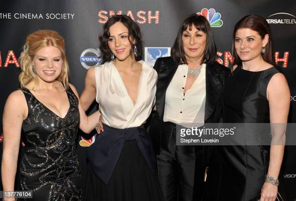 Actresses Megan Hilty Katharine McPhee Anjelica Huston and Debra Messing attend the NBC Entertainment Cinema Society with Volvo premiere of 'Smash'...