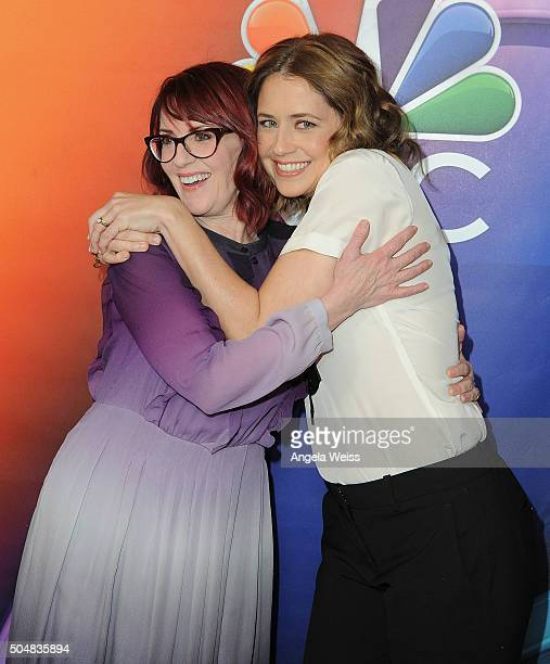 Actresses Megan Mullally and Jenna Fischer arrive at the 2016 Winter TCA Tour - NBCUniversal Press Tour at Langham Hotel on January 13, 2016 in...