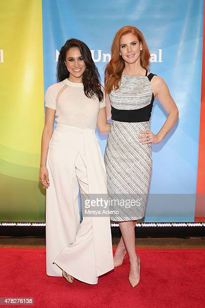 Actresses Meghan Markle and Sarah Rafferty attend the 2015 NBC New York Summer Press Day at Four Seasons Hotel New York on June 24 2015 in New York...