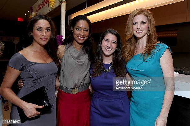 Actresses Meghan Markle Gina Torres guest and Sarah Rafferty attend the FINCA Canada Fundraiser At TIFF 2012 during the Toronto International Film...