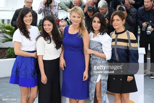 Actresses Melanie Doutey Noee Abita Virginie Efira Leila Bekhti and Marina Fois attend the photocall for the Sink Or Swim during the 71st annual...