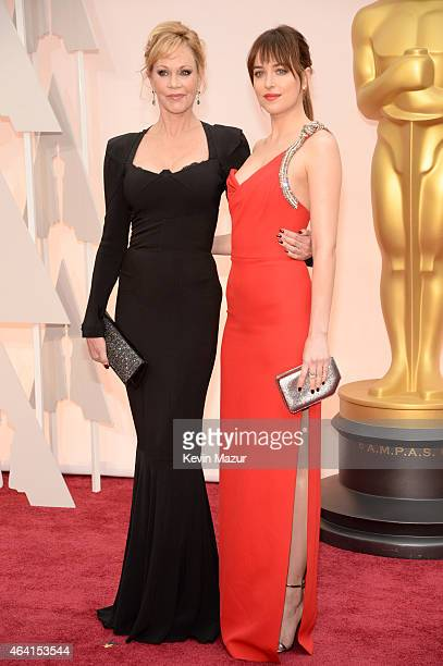 Actresses Melanie Griffith and Dakota Johnson attend the 87th Annual Academy Awards at Hollywood & Highland Center on February 22, 2015 in Hollywood,...