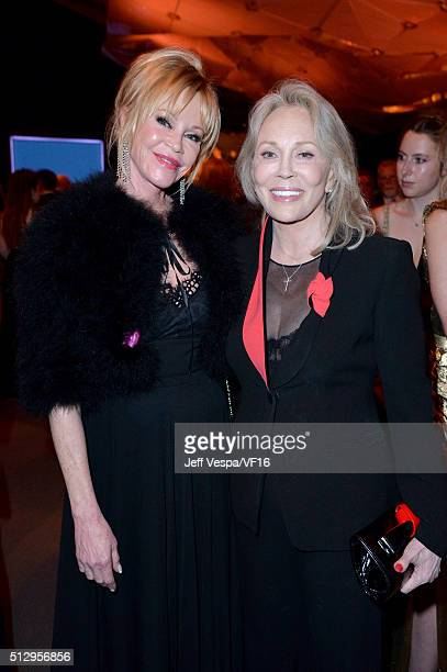 Actresses Melanie Griffith and Faye Dunaway attend the 2016 Vanity Fair Oscar Party Hosted By Graydon Carter at the Wallis Annenberg Center for the...
