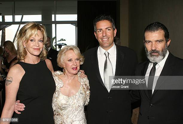 Actresses Melanie Griffith and Tippi Hedren president of The Humane Society of the United States Wayne Pacelle and actor Antonio Banderas attend the...