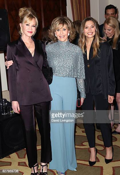 Actresses Melanie Griffith Jane Fonda and Elizabeth Olsen arrive at Equality Now's 3rd Annual Make Equality Reality Gala at Montage Beverly Hills on...