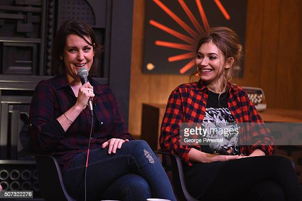 Actresses Melanie Lynskey and Imogen Poots speak onstage at the Cinema Cafe during the 2016 Sundance Film Festival at Filmmaker Lodge on January 28...