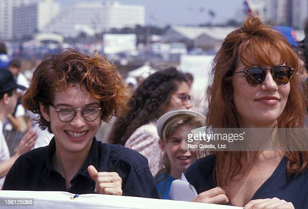 Actresses Melanie Mayron and Katey Sagal attending 'Heal the Bay Benefit' on June 11 1989 at Santa Monica Pier in Santa Monica California