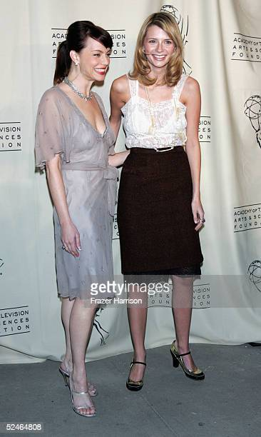 Actresses Melinda Clarke and Mischa Barton pose at The Academy of Arts and Sciences presents the The OC Revealed at Warner Bros Studios Steven Ross...