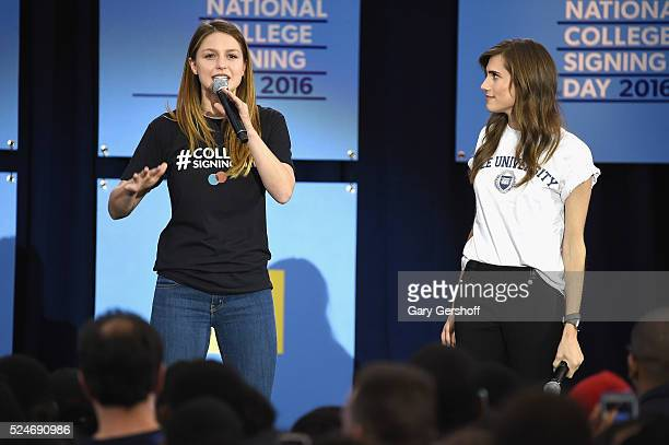Actresses Melissa Benoist and Allison Williams seen on stage during the 3rd Annual College Signing Day at the Harlem Armory on April 26 2016 in New...