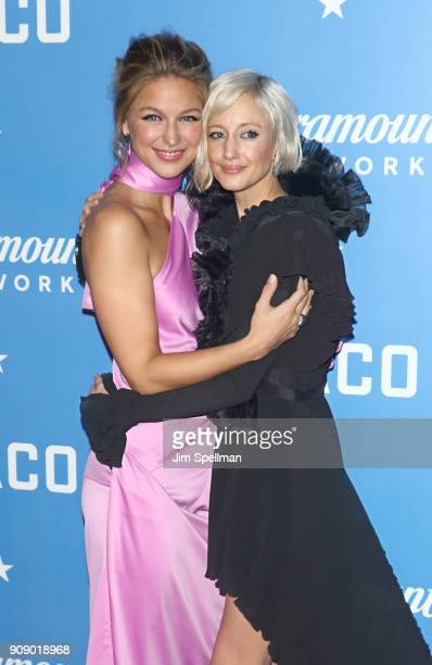 Actresses Melissa Benoist and Andrea Riseborough attend the 'Waco' world premiere at Jazz at Lincoln Center on January 22 2018 in New York City