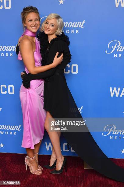 Actresses Melissa Benoist and Andrea Riseborough attend the world premiere of WACO presented by Paramount Network at Jazz at Lincoln Center on...