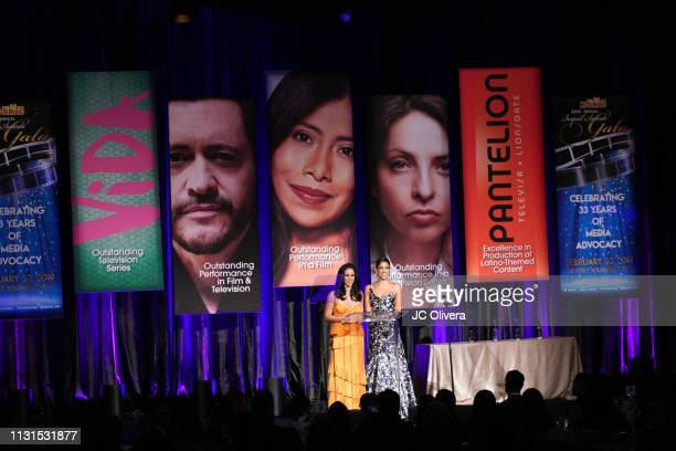 Actresses Melissa Fumero and Stephanie Beatriz speak onstage during the 22nd Annual National Hispanic Media Coalition Impact Awards Gala at Regent...