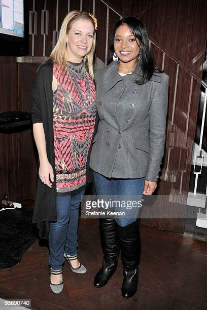 Actresses Melissa Joan Hart and Tamala Jones attend the Ubisoft and Oxygen YOUR SHAPE fitness game launch party at Hyde Lounge on December 2 2009 in...