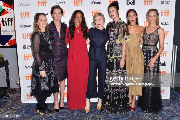 Actresses Melissa Leo Julianne Nicholson director Maggie Betts actresses Maddie Hasson Margaret Qualley Rebecca Dayan and Dianna Agron attend the...