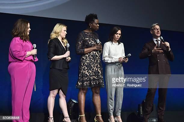 Actresses Melissa McCarthy Kate McKinnon Leslie Jones Kristen Wiig and 'Ghostbusters' director Paul Feig speak onstage during CinemaCon 2016 An...
