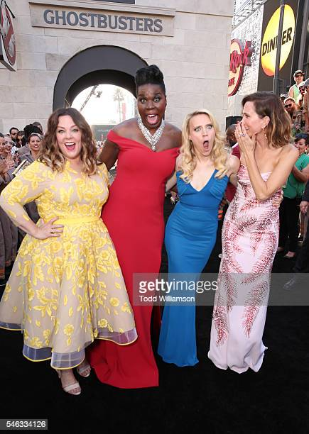 "Actresses Melissa McCarthy, Leslie Jones, Kate McKinnon and Kristen Wiig attend the Premiere of Sony Pictures' ""Ghostbusters"" at TCL Chinese Theatre..."