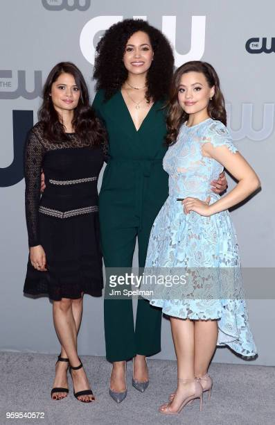 Actresses Melonie Diaz Madeleine Mantock and Sarah Jeffery attend the 2018 CW Network Upfront at The London Hotel on May 17 2018 in New York City
