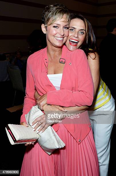 Actresses Melora Hardin and Amy Landecker attend 2015 Beth Chayim Chadashim Annual Awards Brunch honoring Jeffrey Tambor for his work on...