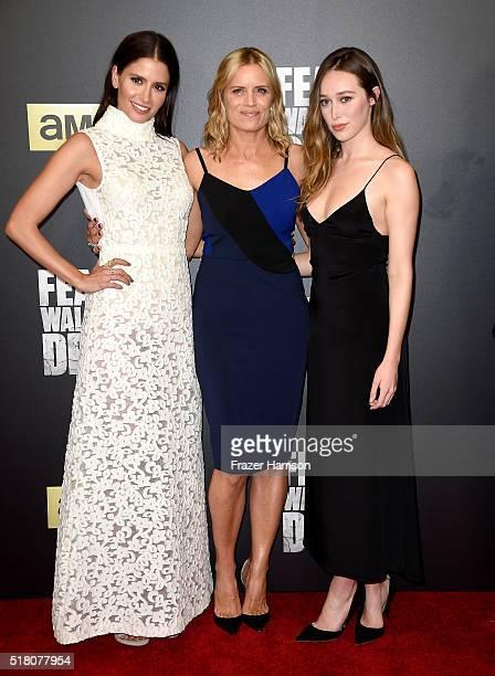 Actresses Mercedes Masohn Kim Dickens and Alycia DebnamCarey attend the premiere of AMC's 'Fear The Walking Dead' Season 2 at Cinemark Playa Vista on...