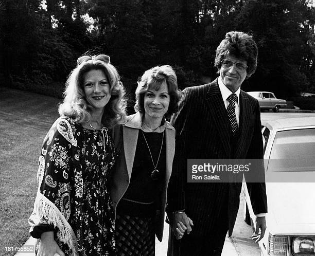 Actresses Meredith McRae Linda Kaye Henning and actor Mike Minor attend the funeral service for Edgar Buchanan on April 7 1979 at Forest Lawn...