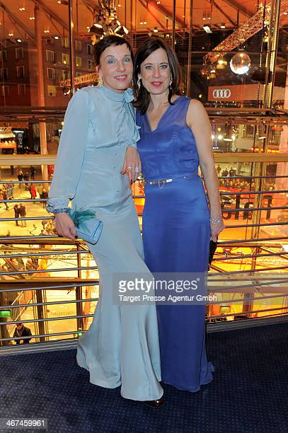 Actresses Meret Becker and Inka Friedrich attend the Opening Party of the 64th Berlinale International Film Festival on February 6, 2014 in Berlin,...