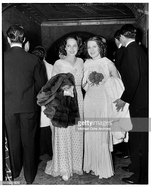 Actresses Merle Oberon and Norma Shearer attend an event in Los Angeles California