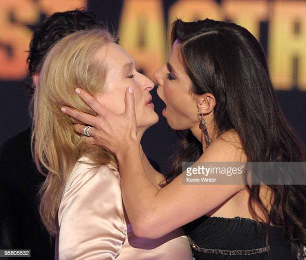 Actresses Meryl Sctreep and Sandra Bullock accept the Best Actress award onstage during the 15th annual Critics' Choice Movie Awards held at the...
