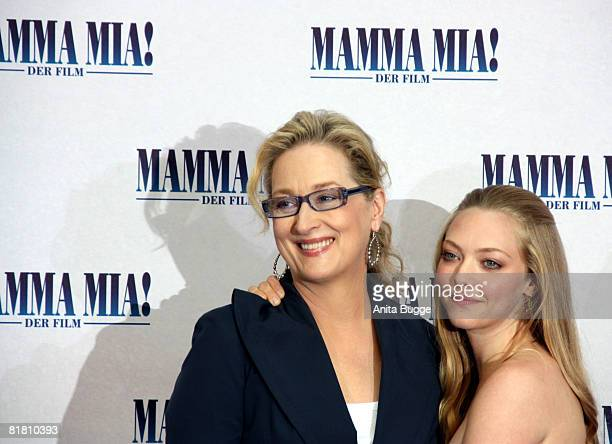 Actresses Meryl Streep and Amanda Seyfried attend the photocall for 'Mamma Mia The Movie' at the Adlon Hotel on July 3 2008 in Berlin Germany