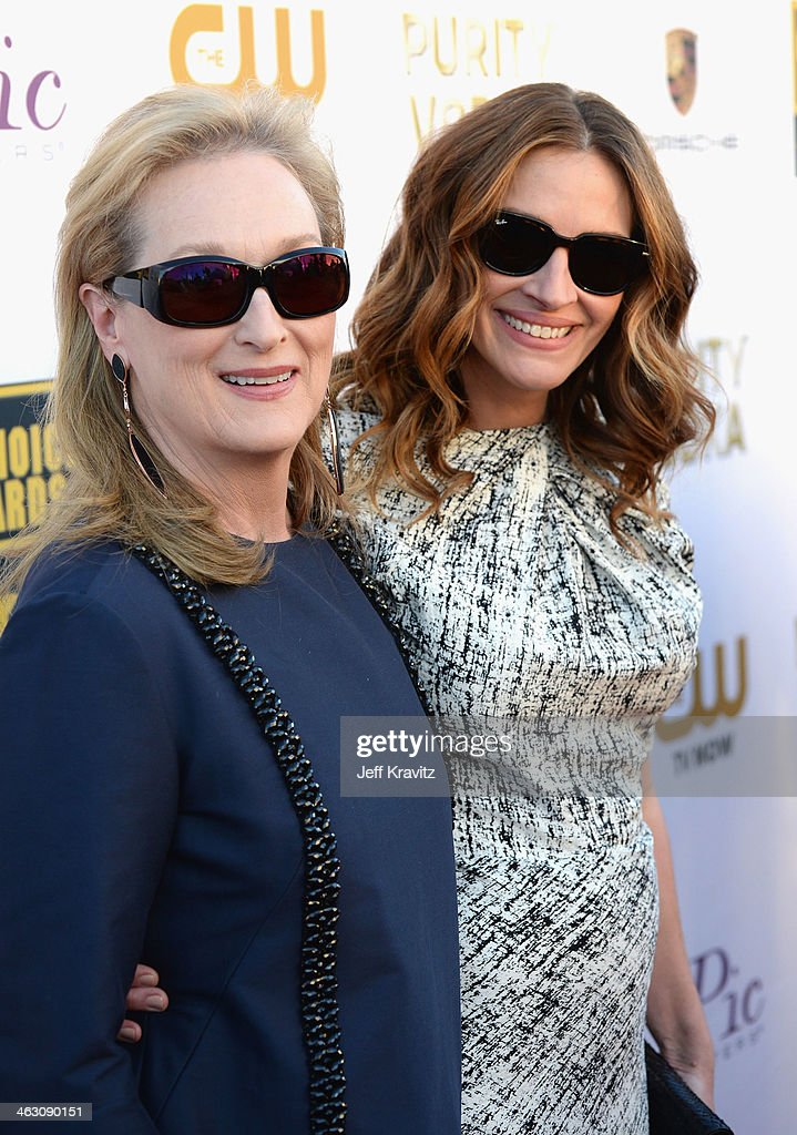Actresses Meryl Streep and Julia Roberts attend the 19th Annual Critics' Choice Movie Awards at Barker Hangar on January 16, 2014 in Santa Monica, California.